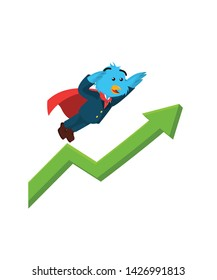 business bird with superpower flying with rising diagram