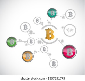 business bitcoin diagram sign illustration design over a white background