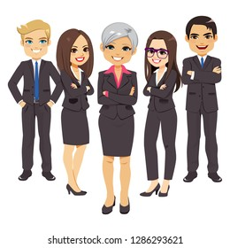 Business black suit team set of office workers with senior manager businesswoman