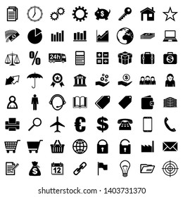 Business black vector icons isolated on white background