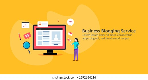 Business blogging, blog post publication, creating blog post, content marketing network - conceptual vector illustration with icons