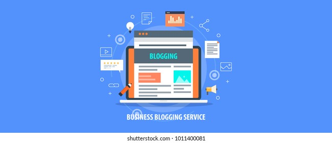 Business Blogging, Commercial Blog posting, Internet Blogging service flat design vector illustration with icons
