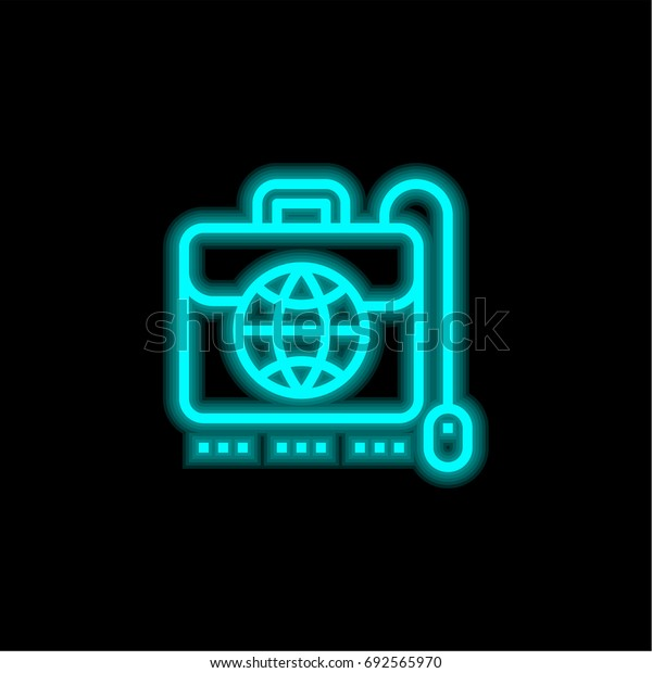 Business blue glowing neon ui ux icon. Glowing sign logo vector