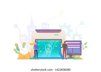 Business Blueprint Vector Concept Illustration, Suitable for web landing page, ui, mobile app, editorial design, flyer, banner, and other related occasion