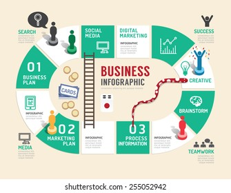 Business board game concept infographic step to success,vector illustration