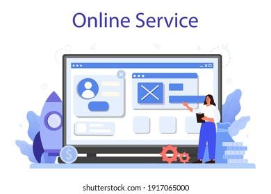 Business boost online service or platform. Company and personal career success. Busines development and profit increase. Flat vector illustration