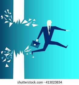 Business breakthrough success businessman breaks through the wall.Breaking the wall.Business concept illustration.businessman Vector.businessman Symbol. businessman Picture.Digital businessman Picture