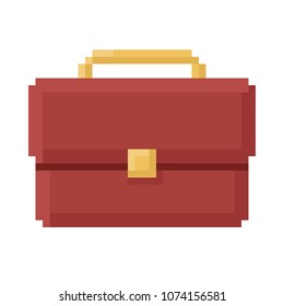 Business briefcase Icon, Pixel 8 bit style