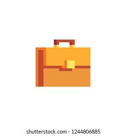 Business Briefcase pixel art icon. Isolated vector illustration. Retro video game sprite.