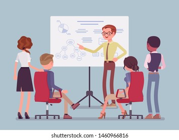 Business briefing in the office. Meeting for employees, new project information and instruction, managers brainstorming, negotiating about agreement or contract. Vector flat style cartoon illustration