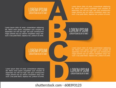Business brochure background design with ABCD labels for info text