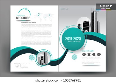 Business Brochure Background Design Template, Flyer Layout, Poster, Magazine, Annual Report, Book, Booklet with Green and Blue Wavy and Building Image. Size A4 Vector Design illustration.
