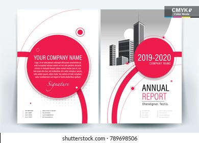 Business Brochure Background Design Template, Flyer Layout, Poster, Magazine, Annual Report, Book, Booklet with Red circle and building image.Size A4 Vector illustration
