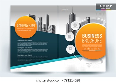 Front and back cover of a modern business brochure layout or flyer template, poster, magazine, annual report, book, booklet with blue and orange circle and building image.Size A4 Vector illustration
