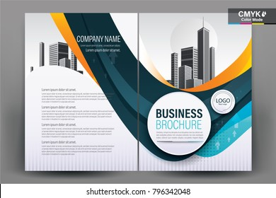 Business Brochure Background Design Template, Flyer Layout, Poster, Magazine, Annual Report, Book, Booklet with blue and orange circle and building image.Size A4 Vector illustration