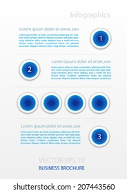 Business brochure with blue circles. Infographics