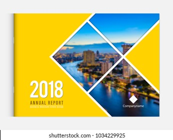 Business brochure cover design template corporate company profile or annual report catalog magazine flyer booklet leaflet. Cover page A4 landscape vector. Sample image with Gradient Mesh.