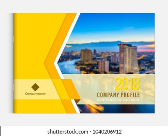 Business brochure cover design template corporate company profile or annual report catalog magazine flyer booklet leaflet. Cover page A4 landscape vector sample image with Gradient Mesh.