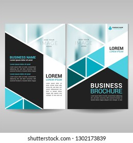 Business brochure cover template with blue triangles
