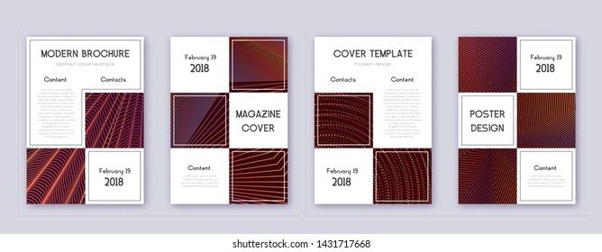 Business brochure design template set. Orange abstract lines on wine-red background. Adorable brochure design. Optimal catalog, poster, book template etc.