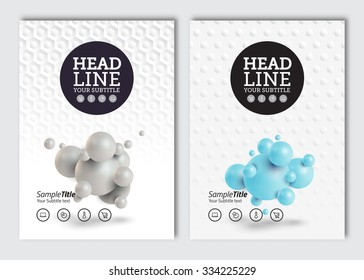 Business brochure design template. Vector flyer layout, 3D abstract spheres in seamless pattern background with elements for cover, poster design. A4 size.