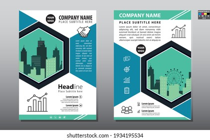 Business brochure flyer design layout template in A4 size, with blur background, vector eps10, CMYK color.