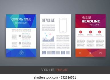 Business brochure flyer design layout template. Templates. Design Set of Web, Mail, Brochures. Mobile, Technology, and Infographic Concept. Modern flat and line icons.