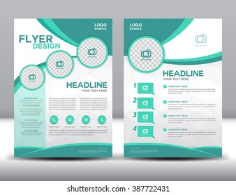 business brochure fly-er design layout template in A4 size,green brochure template,cover design,Front page and back page,info-graphic