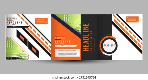 Business Brochure, Flyer Design, Leaflets 3 Fold Template, Cover Book And Magazine, Annual Report Vector Illustration.