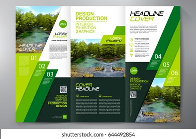 Business Brochure. Flyer Design. Leaflets 3 fold Template. Cover Book and Magazine. Annual Report Vector illustration