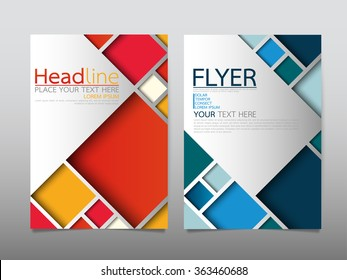 business brochure flyer design template vector.geometric square abstract background.layout in A4 size