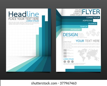 business brochure flyer design template vector.blue graph abstract background.layout in A4 size