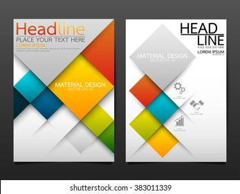 business brochure flyer design template vector.geometric square material background.layout in A4 size