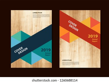 Business brochure flyer geometric design layout template in A4 size, With texture of wood background, Vector illustration modern design