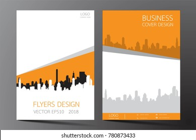 Business brochure flyer modern design. Cover book and magazine inspiration from buildings.Two sided orange and white on the gray background. Template A4 size vector illustration.