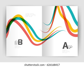 Business brochure flyer template, wave and line abstract background. Colorful curvy and wavy stripes on print template with sample text