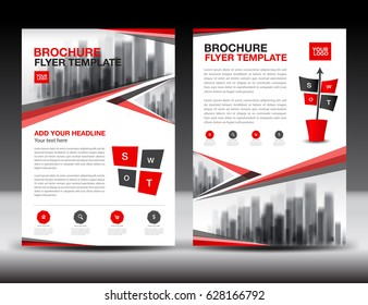 Business brochure flyer templater, Red cover design, annual report, newsletter, ads, polygon background