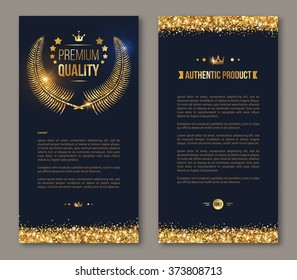 Business brochure with golden laurel wreath and gold confetti on dark background. Glittering premium vip design. Vector illustration.
