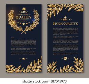 Business brochure with golden laurel wreath and gold confetti on dark background. Vector illustration. Glittering premium vip design. Olive branches Decor