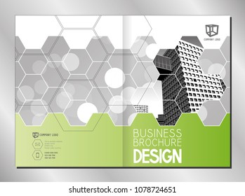 Business brochure template (A4 format - front and back cover) - modern office buildings/ skyscrapers - white, gray and green graphics - great for annual report.