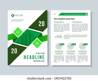 Business brochure template for annual report. Flyer and magazine, green layout abstract background