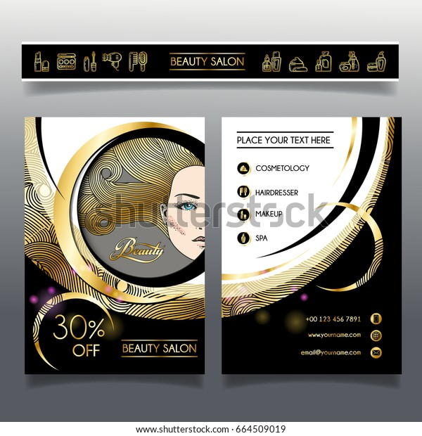 Business brochure template for beauty salon and hairdressing shop. Vector illustration face of girl with golden hair and cosmetics icons for use on booklets, flyers, business card.