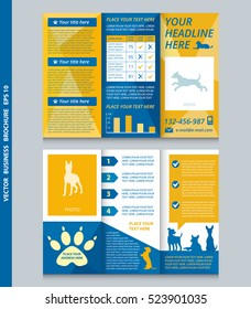 Business brochure template with dogs with place for your photo, vector design. Eps 10. Can be used for pet shop.
