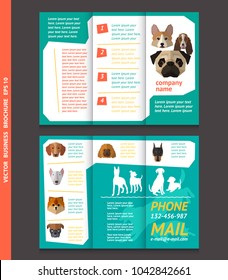 Business brochure template with face of dogs, vector design. Eps 10. Can be used for pet shop.