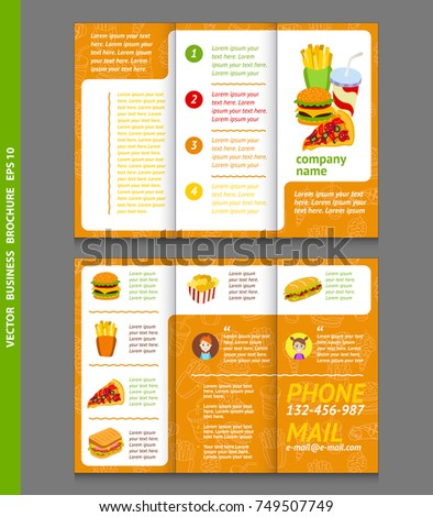 Business Brochure Template With Fast Food Icons Vector Design Eps 10