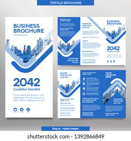 Business Brochure Template in Tri Fold Layout. Corporate Design Leaflet with replacable image