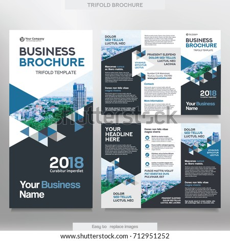 Business brochure template tri fold layout stock vector royalty business brochure template in tri fold layout corporate design leaflet with replacable image wajeb Images