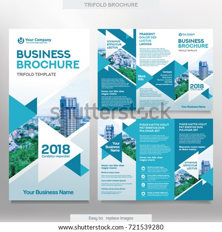 Business brochure template tri fold layout stock vector royalty business brochure template in tri fold layout corporate design leaflet with replacable image accmission Choice Image