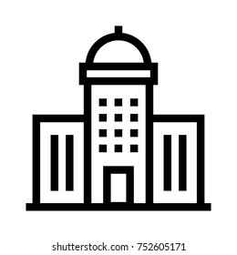 Business building line vector. A group of apartment units icon. Residential flat real estate property in linear style illustration. Headquarter office construction with a dome roof structure.