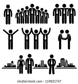Business Businessman Group Workforce Worker Human Resources Stick Figure Pictogram Icon